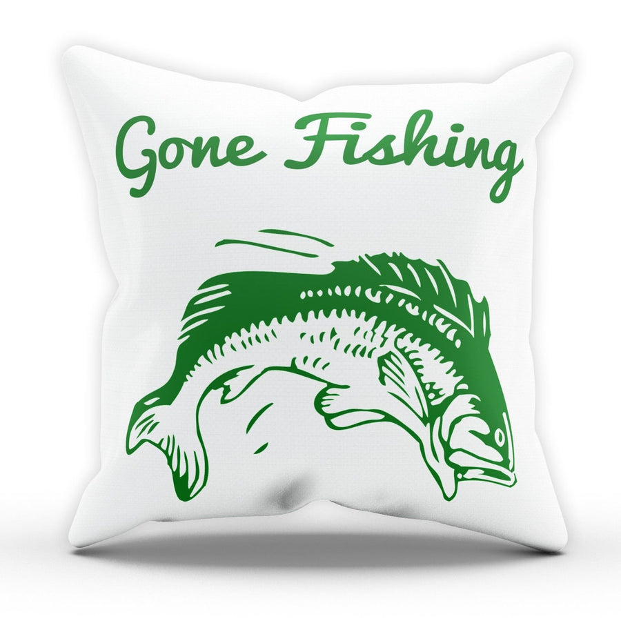 Gone Fishing Pillow Cushion Pad Cover Case Bed Fisherman Fish Rod Catch Carp