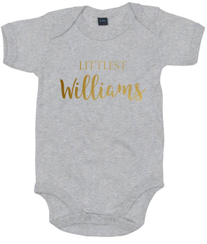 Littlest ANY Surname Babygrow Vest Unisex Baby Shower Gift Present Mummy AS30