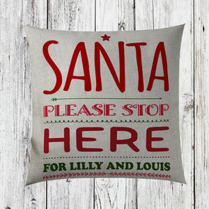 Personalised Childrens Santa Here Christmas Cushion Cover Home Decorations ST42