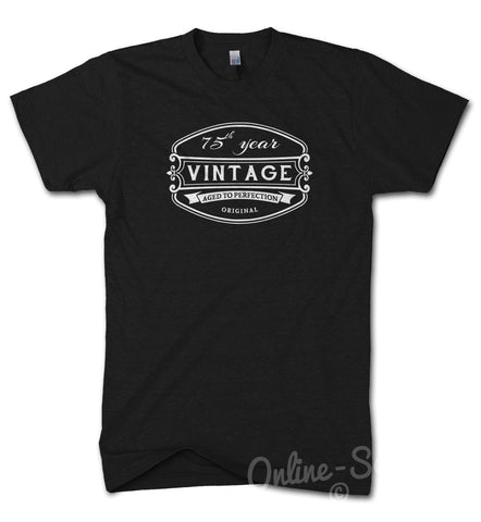 Image of 75 th Vintage Birthday Mens T Shirt 76 77 78 79 Gift Present Bday Dad Funny, Main Colour Black