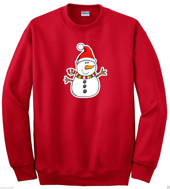 SNOWMAN CARTOON SWEATER JUMPER CHRISTMAS XMAS PRINTED MENS WOMENS SWEATSHIRT NEW