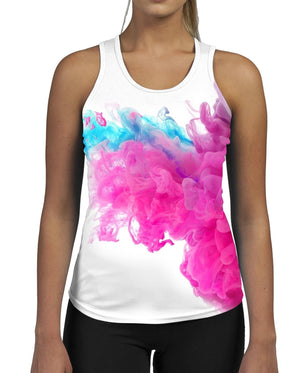 Pink Puff WOMENS GYM TANK Top Vest Fitness Workout Gym Smoke Bright  Pattern