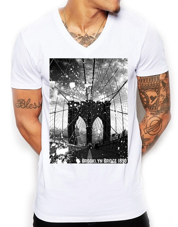 Brooklyn Bridge Distinkt Youth V Neck T Shirt Top Mens Fitted Summer EDY3