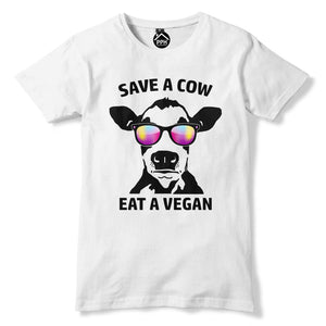 Save a Cow Eat a Vegan T Shirt Funny Novelty Animal Chill Mens Womens Kids 354