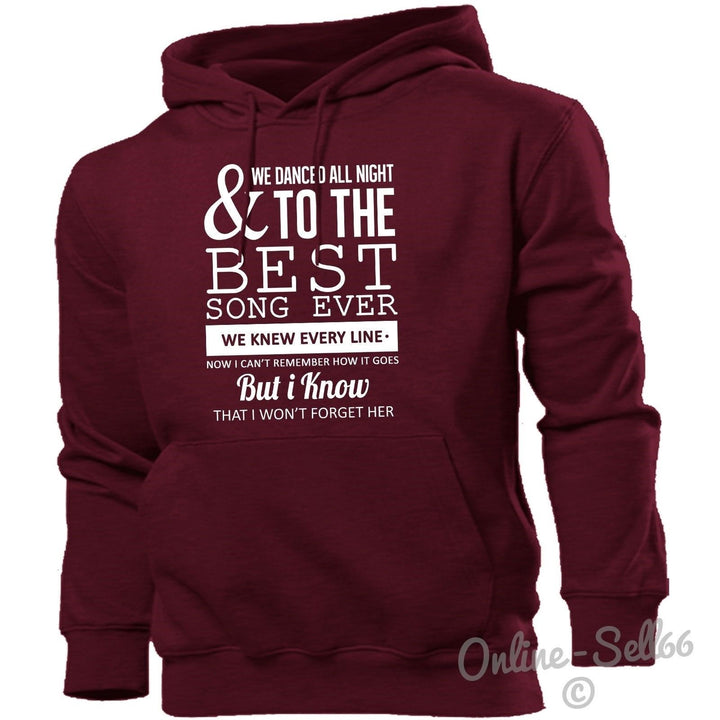 And We Danced All Night To The Best Song Ever Hoodie Men Women Kids Music Lyrics, Main Colour Maroon
