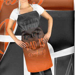 Stand Back Dad Is Cook Aprons Funny BBQ Apron Fathers Day Gift Baking ST100