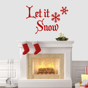 Let It Snow Christmas Wall Sticker Vinyl Decorations Windows Art Xmas Decal W2