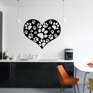 Animal Paw Print Heart Wall Sticker Dog Cat Vinyl Mural Pet Decal Stickers Print