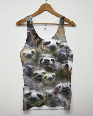 Sloth All Over Vest Tank Top Animal Funny Lazy Shop Mens Man Woman Holiday Beach