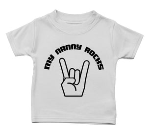 My Nanny Rocks T Shirt Funny Baby Boy Girl Gift Present Birthday Cute Music Kid, Main Colour White