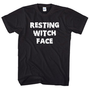 Resting Witch Face T-Shirt Womens Halloween Shirt Mens Lazy Witch Costume L120