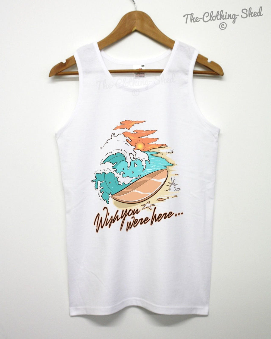 WISH YOU WERE HERE VEST HOLIDAY SURF SEA BEACH 90 80 STYLE RETRO MEN WOMEN ART