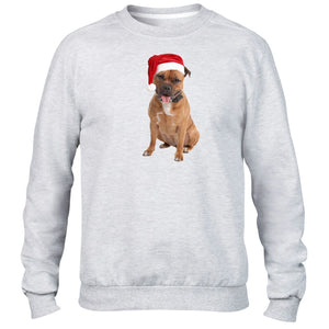 Staffie Christmas Hat Jumper Sweater Staffordshire Bull Terrier Present Kids