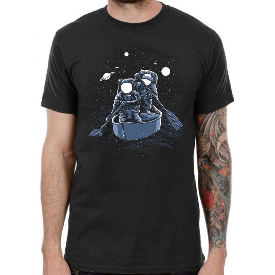 Rowing Astronaut tshirt illustration mens black top spaceman retro space badass