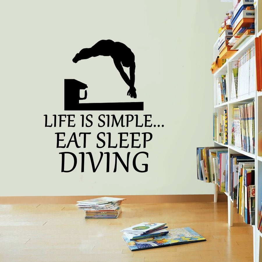 Life Is Simple Diving Vinyl Sticker Dive Eat Sleep Decal Diving Wall Art Sport