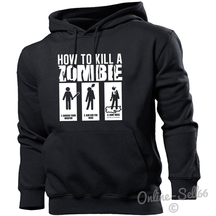 How To Kill A Zombie Hoodie Hoody Men Women Kids Funny, Main Colour Black
