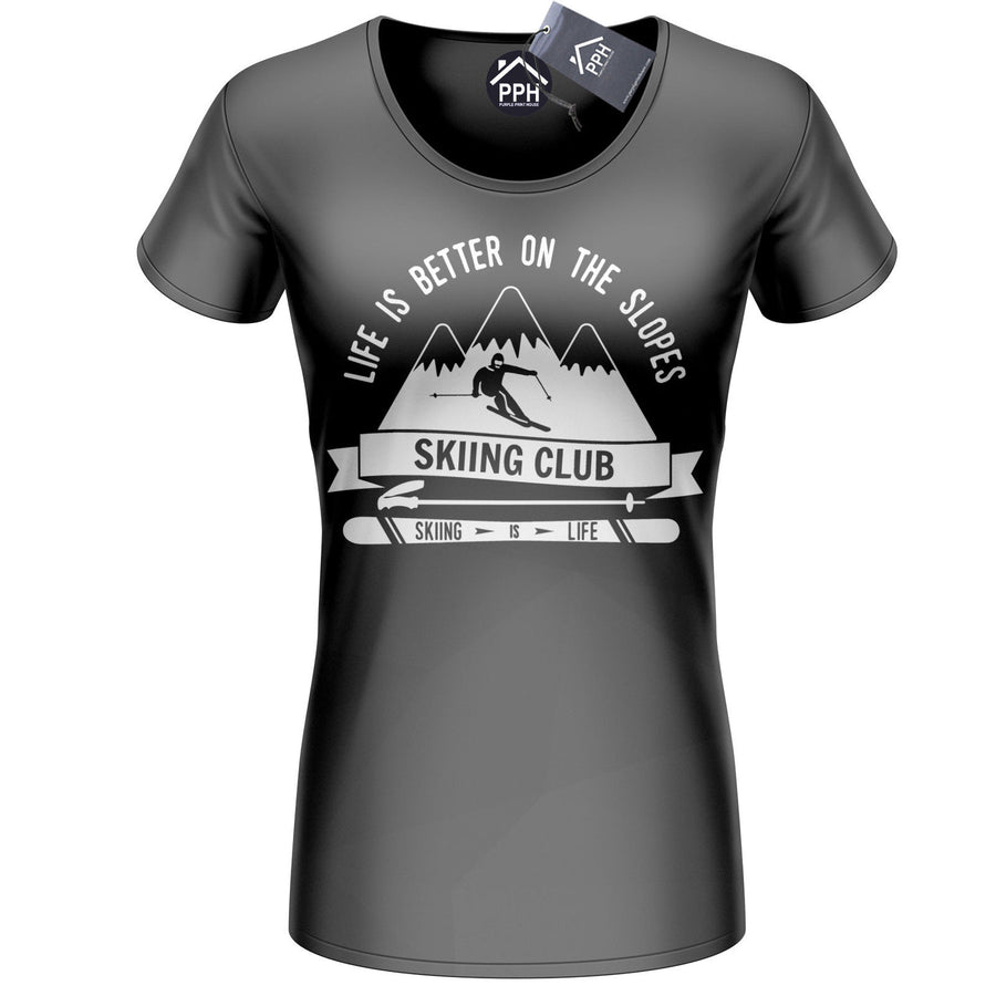 Life is Better on the Slopes Ski T Shirt Mens Women Snowboard Tshirt Skiing 499