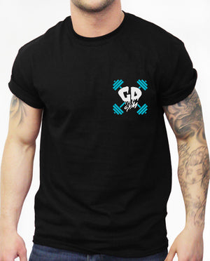 Get Down Skull And Cross Weights Pocket Logo T Shirt Fit Bodybuilding MMA Train
