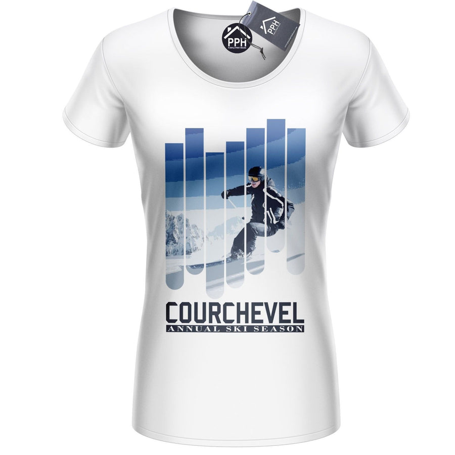 Courchevel Annual Ski Season T Shirt Skiing Top Goggles France Apres Tshirt 489