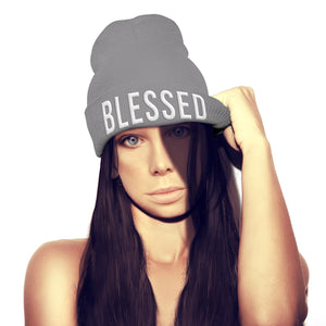 Blessed Beanie HAT Jesus Crucifix Religion Gift Church Bible Hipster Love