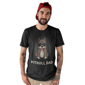 Pitbull Dad Funny Mens T-Shirt Dog Pet Lover Fathers Day T Shirt Black Top