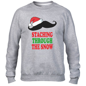 STACHING THROUGH THE SNOW SWEATER FUNNY MOUSTACHE CHRISTMAS JUMPER MEN WOMEN NEW