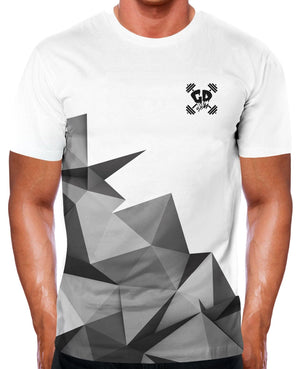HALF GREY GEOMETRIC T SHIRT BODYBUILDING GYM CLOTHING BRAND MEN NEW TOP TRAINING