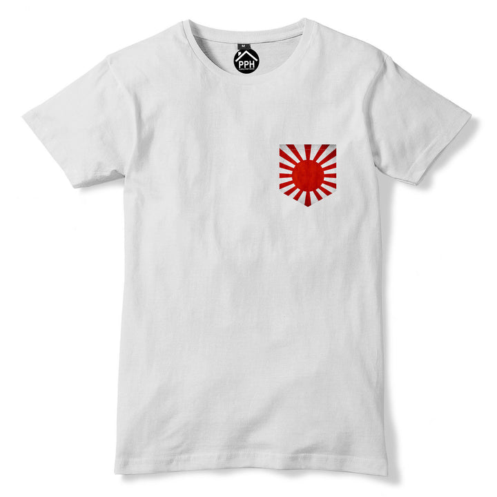 Vintage Print Pocket Japan War Flag T Shirt Japanese Football Mens Tshirt 276