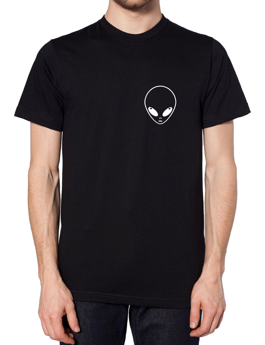 Alien Logo Chest T Shirt Fashion Hipster Indie Fashion Men Tumblr Swag UFO, Main Colour White