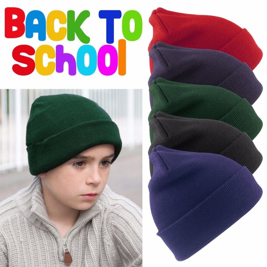 Winter Essentials Junior Childrens Boys Girls Woolly Ski Hat Beanie School Hat