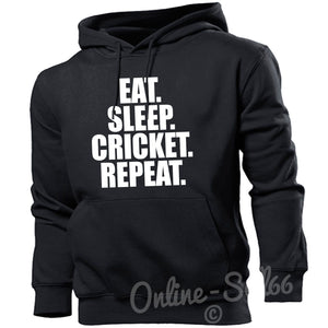 Eat Sleep Cricket Repeat Mens Bat Hoodie Present Ball Training Top Hoody Pad, Main Colour Black