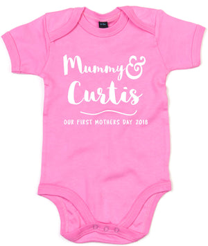 Personalised Mothers Day Baby Gift Babygrow Babies Clothing First Mum Cute L241