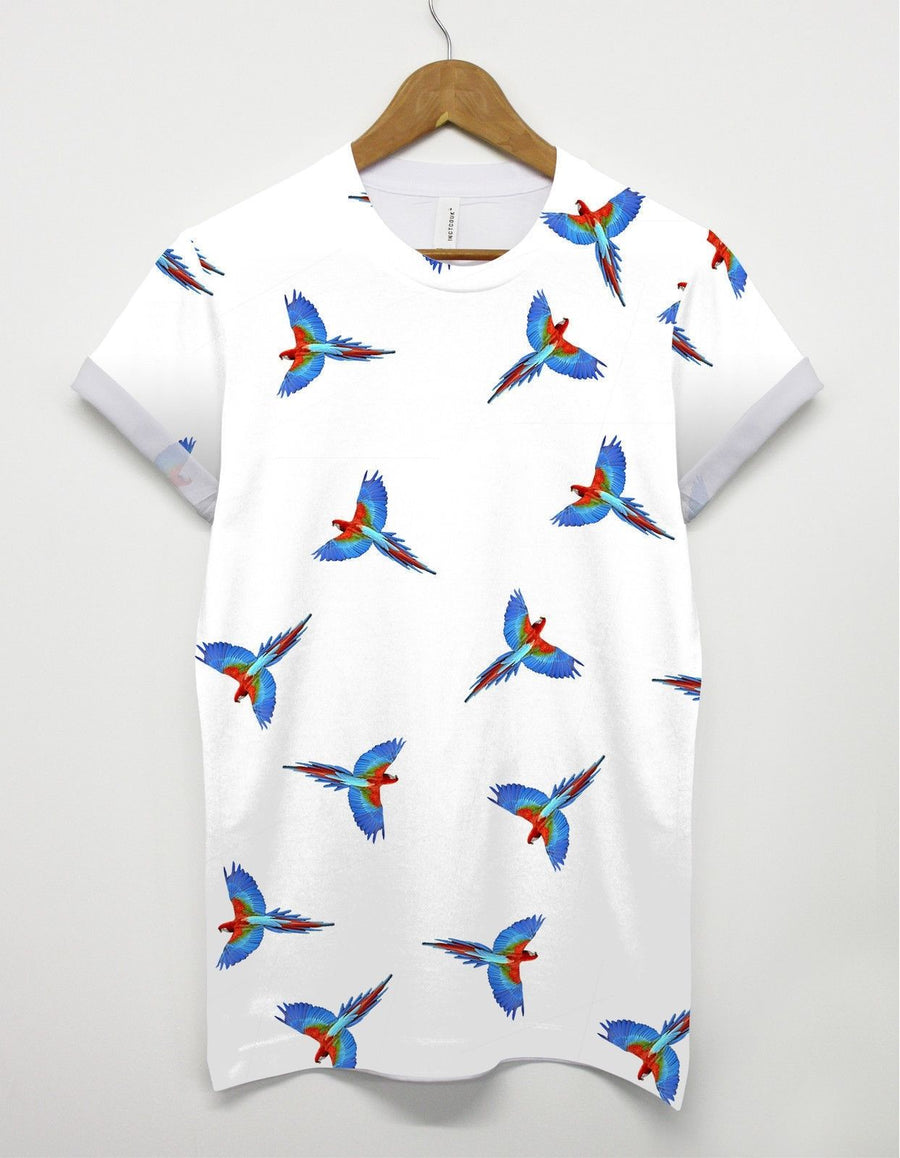 Parrot All Over T shirt Bird Tropical Holiday Festival Birdie Swag Indie Flying
