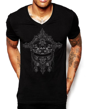 Distinkt Youth Bad to the Bone Mens Deep V Neck T Shirt Skull Holiday Ibiza 268
