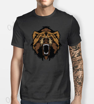 Bear Grizzly Tshirt MeCns Womens Shirt Tee Animal Mountain Black Brown Wild Face