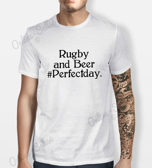 Rugby and Beers Tshirt Mens Womens Shirt Tee Sport Perfect day Union Fan Club