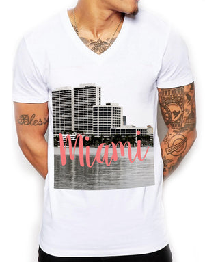 Miami Inspired Fashion V-Neck T-Shirt Summer Harbour For Men White Shirt L83