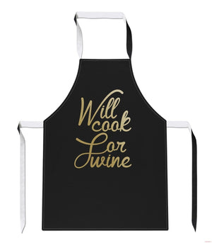 Will Cook For Wine Funny Drink Party Prosecco Mothers Day Cook APRON Tabard A32