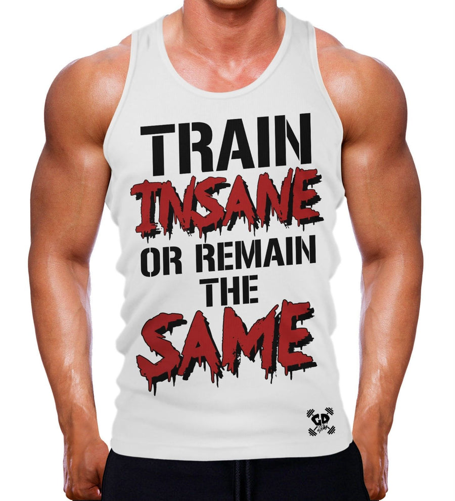 TRAIN INSANE OR REMAIN THE SAME TANK VEST GYM WEAR MEN WORKOUT TRAINING TOP NEW