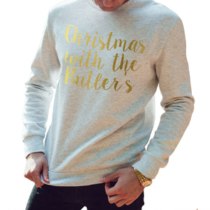 Gold Christmas With The FAMILY NAME Christmas Sweater Personalised Sweatshirt 61