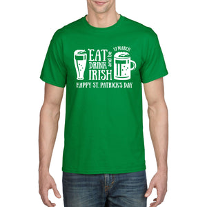 Eat Drink & Irish Green T Shirt St Patricks Day TShirt Ireland T-Shirt Flag P35