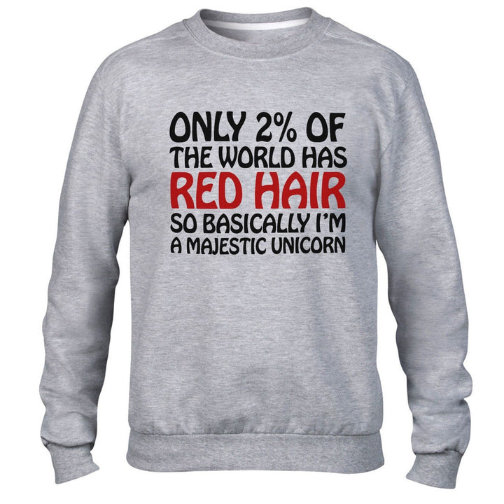 Only 2% World Red Hair Unicorn Funny Hipster Sweatshirt Men Women Sweater Ginger