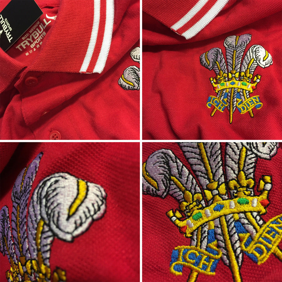 Wales Rugby Shirt Cymru Red Polo Shirt Mens Prince of Wales Retro Football