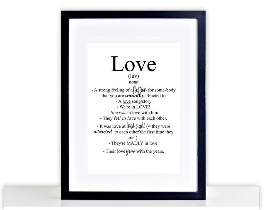 Love Defination Picture Family Poster Print Framed Mounted Valentines Gift 241