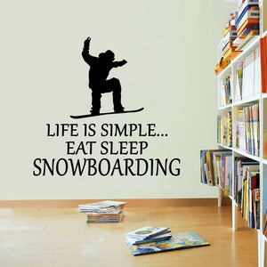 Life Is Simple Snowboarding Vinyl Sticker Eat Sleep Winter Ski  Decal Wall Art