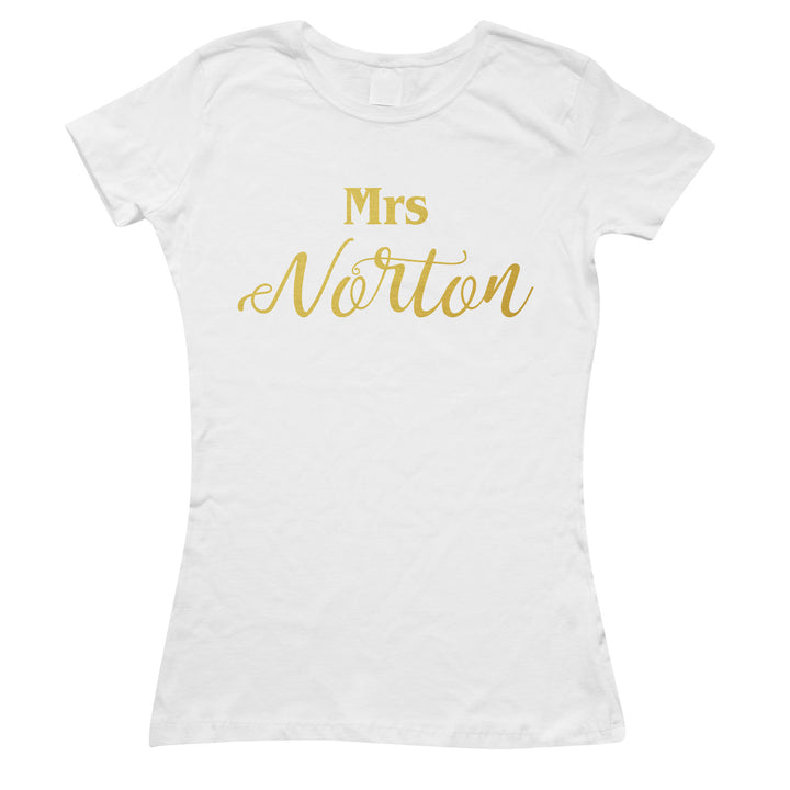 Personalised Bride to be T-Shirt Mrs Surname Cute Marriage Wedding Day Top L169