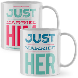 Couples Matching Mugs - Just Married Funny Wedding Gift Mug Cup Bride Grrom 848
