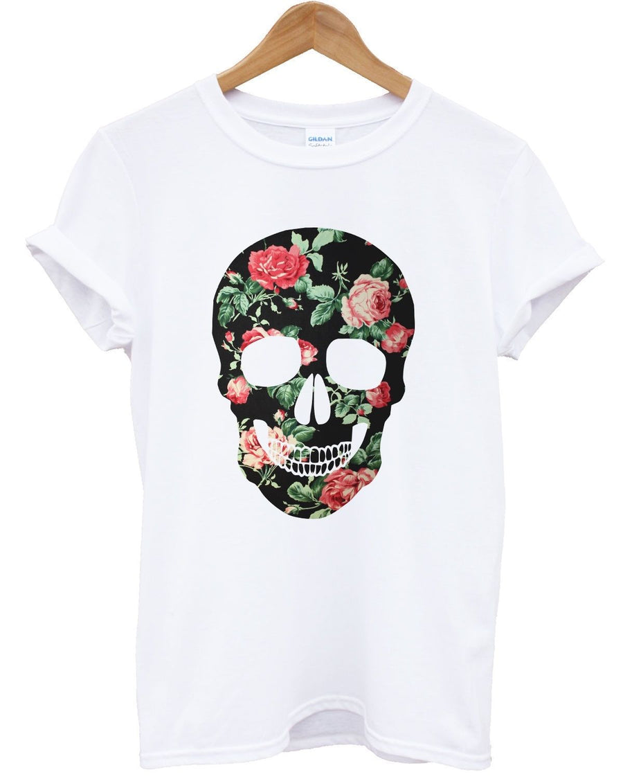 FLORAL SKULL COLOURED T SHIRT PRINT TUMBLR INDIE HIPSTER ROSE WOMEN TOP MEN GIRL