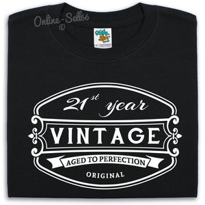 21 st Vintage Birthday Mens T Shirt Alcohol Funny Present Bday Gift Drink Party