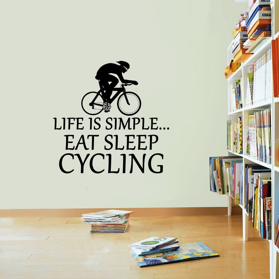 Life Is Simple Cycling Vinyl Sticker Rope Eat Sleep Decal Cycle Wall Art Sport